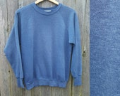 Vintage Raglan Sweatshirt  //  Vtg Made in the USA Plain and Simple Soft Distressed Faded Heathered Blue Fleece Crew Neck Top