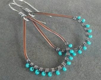 Rustic Sterling Silver Copper Artisan-Beaded Hoop-Earrings-Sale.