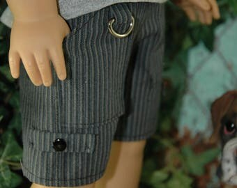 American, made, boy, girl, shorts, with pockets, fits, 18 inch doll, doll clothes