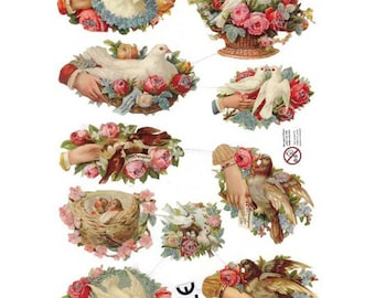 Denmark Paper Lithographed Die Cut Glittered Scraps Doves Flowers  SD 25