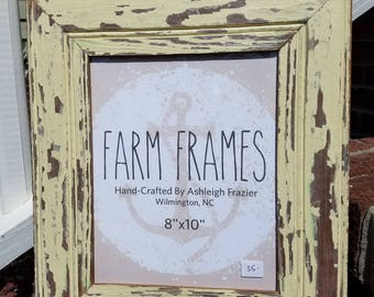 8 x 10 YELLOW old vintage wood picture frame