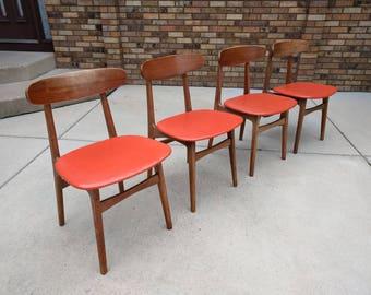 4 DANISH modern mid century teak dining chairs