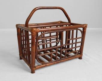 faux bamboo VINTAGE rattan magazine storage basket