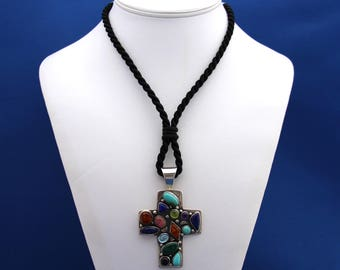 Turquoise, Amber, Lapis Lazuli, Peridot, Amethyst, Rose Quartz and Aquamarine in Silver Cross necklace, Religious Necklace, Cross Pendant