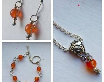 Enchanted Reality - Carnelian Earrings, Necklace, and Bracelet Set