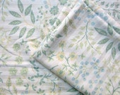 Pair of Recycled All Cotton LL Bean Pillowcases, Botanical Plants Design in Soft Green, Blue, Tan Colors, Pillowcases, Recycled Fabric
