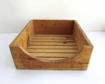 Vintage Small Wooden Country Primitive  Slat Bottom Garden, Utility Box ,Old Natural Wood Finish, Garden Tool Box, Table Box, Cottage Decor
