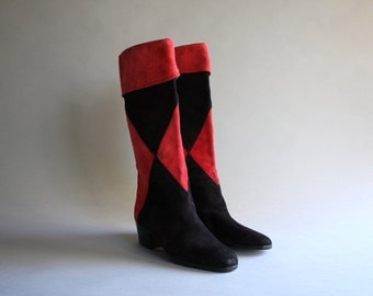 Vintage Harlequin Suede Boots / 1980s Black and Red Leather Cuff Boots / Vintage 90s Suede Knee High Boots