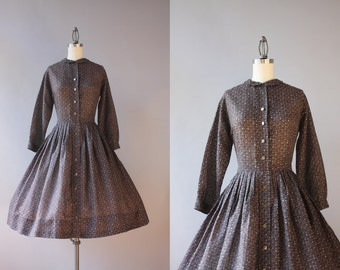 Vintage 50s Dress / 1950s Sheer Day Dress / 50s Full Pleated Skirt Button Down Day Dress