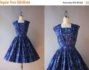 STOREWIDE SALE Vintage 50s Dress / 1950s Cherry Print Cotton Dress / 50s Purple and Blue Novelty Print Full Skirt Sundress small S