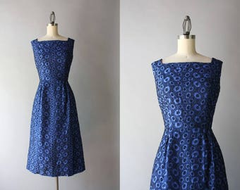 1950s Dress / Vintage 1960s Polished Cotton Embroidered Dress / 50s Fitted Blue and Black Wiggle Dress S small