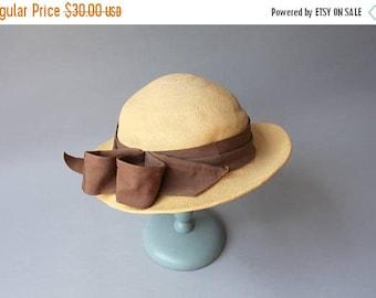 STOREWIDE SALE 1930s Straw Hat / Vintage 30s Golden Straw Bow Hat / Panama Tilt Hat