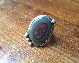 Imperial Jasper Ring - Purple - Blue - Green - Silversmith - Metalsmith Jewelry