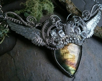 Gothic Steampunk Labradorite and Wings Necklace
