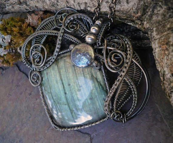 Gothic Steampunk Labradorite Pendant Square with Beads and a Pearl