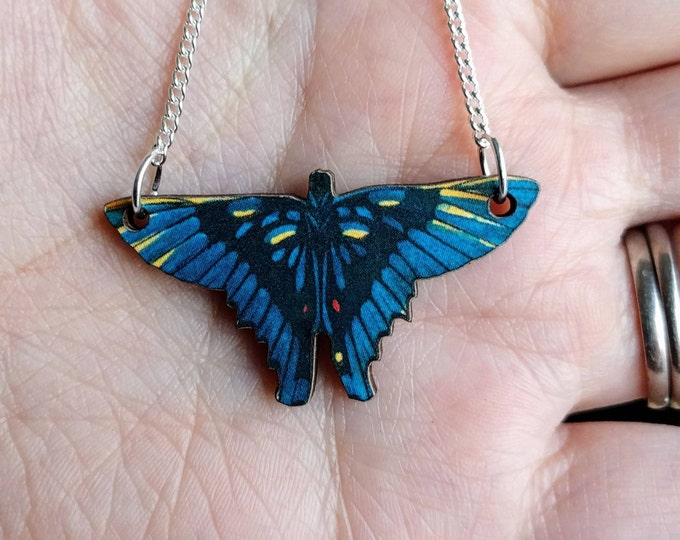 Tiny Butterfly Necklace, Blue Butterfly Necklace, Wood Pendant, Illustration Jewelry, Woodland, Animal Necklace