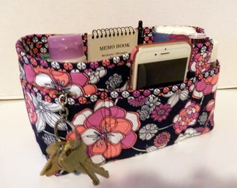 "Purse Organizer Insert/Enclosed Bottom  4"" Depth/ Navy Background With White, Peach, and Mauve Floral Print"