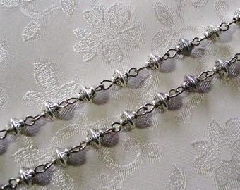 Antique Silver Tibetan 6mm Beaded Rosary Chain 972