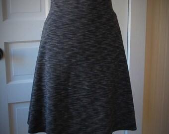 Jersey Knit Skirt - A line style - Black Space Dye Pattern - Size Small