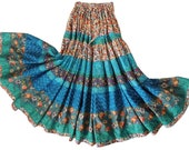Two Tier Extra Long Gypsy Patchwork Skirt