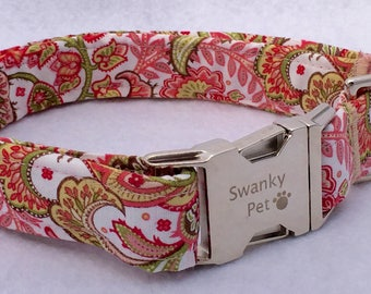 Notting Hill - A Stylish Pink Paisley Dog Collar from Swanky Pet