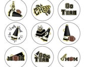 Cheer Football 1 inch Circles - Buttons, Bows, Bottlecaps
