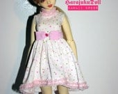 harajukuDoll msd dress white with dots and pink belt