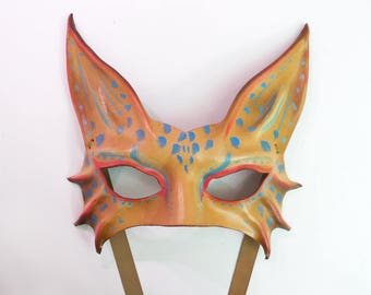 Leather Cat or Animal Mask middle sized in Abstract Fantasy Colors costume masquerade cat art wildcat leopard lynx