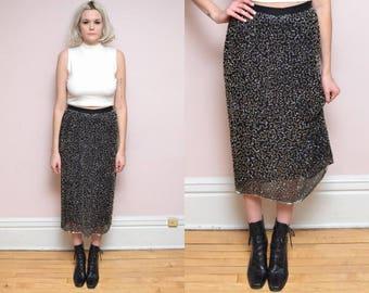 Vintage 80s Black + Silver Silk Beaded Embellished Skirt // Glam Shimmer Shiny Flapper Evening Cocktail Maxi Skirt // - Size M