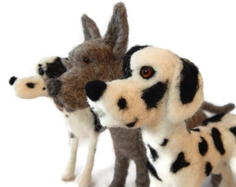 THREE of Custom Needle felted Great Dane Sculpture - Dog Art - Custom Dog Sculpture  - medium size