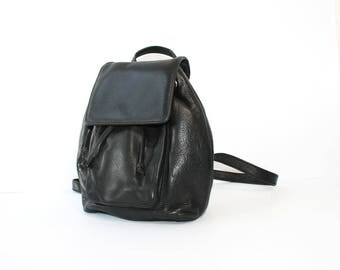 1990s Cole Haan Black Leather Backpack