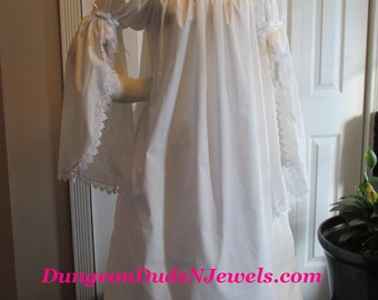 DDNJ NEW Ready to Ship 1 Tier Split Trumpet Slv Chemise Length 54-55 Renaissance Vampire Goth Gypsy Pirate Wench Costume Medieval