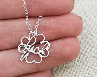 Inspirational Necklace - Gift - Lucky Charm Necklace -  Clover Jewelry - Luck Necklace - Saint Patricks Day Gift  -  Positive Jewelry