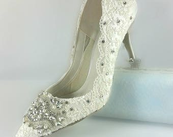 Ivory Lace Wedding Shoes .. Crystal and Pearl Shoes .. Pointed Toe Bridal Shoes .. Custom Design..High Heels