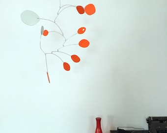 "Vivid Orange Modern Hanging Art Mobile 24""x26"" - Midcentury Calder Inspired Kinetic Sculpture - Free Shipping"