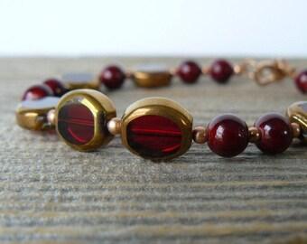 Dark Red Beaded Bracelet, Garnet Red Ceramic Bead Bracelet, Red and Copper Glass Bead Jewelry, Everyday Bracelet, Gift For Her