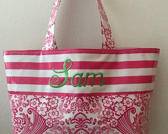 Beth's Medium Pink Paradise with Embroidered Pink Stripe Constrast Oilcloth Tote Market Bag