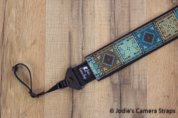 Patchwork Camera Brown Blue Green Strap 2 in Wide Custom Padded Fits DSLR SLR 6329