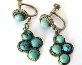 Vintage Turquoise and Silver Earrings / Blue Stone and Silver Screw-back Earrings / Boho Jewelry