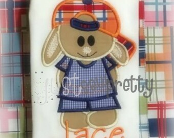 Baseball Bunny Boy Embroidery Applique Design