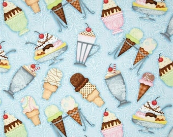 Ice Cream Sundae Blue, What's The Scoop ~ SPX Fabrics Collection, Cotton Quilt Fabric, Out of Print
