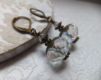 Vintage Crystal and Czech Bronze Earrings on Antique Bronze Nickel Free Leverback Hooks