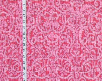 Pink polka dotted swirl fabric linen home decorating material 1 yard