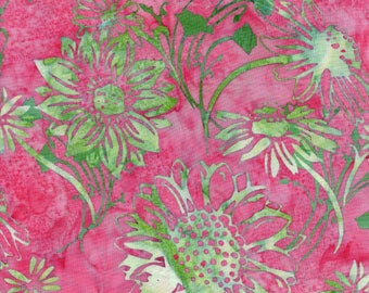 Hoffman Bali Batik PNK 5167 Cotton Candy Sunflowers On Pink By The Yard
