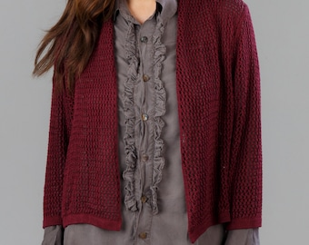 Bamboo Knit Cover-Up: Wine & Cloud