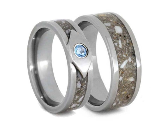 Titanium Ring with Pet Ashes Inlay, Memorial Jewelry, Pet Memorial Ring with Sky Blue Topaz Gemstone, Patent Pending  Other Metals Available