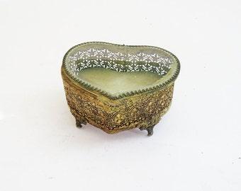 Heart Shaped Box // Antique 1920's Glass Top Metal Jewelry Box // Vintage Home Decor