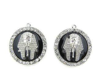 Pair of Round Egyptian Pharaoh Head Charms Silver-tone