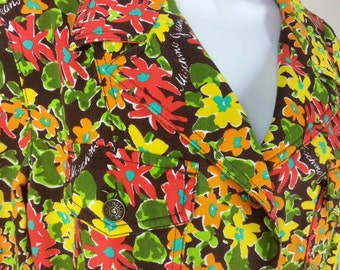 Vtg 80s Moschino Jeans floral denim jacket orange red yellow size US 10 GB 14 I 44 D 40 F40