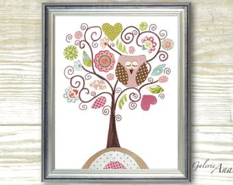 Tree Nursery Art Baby nursery print Nursery wall art kids room decor baby girl nursery decor -  owl nursery - Fantasy Tree